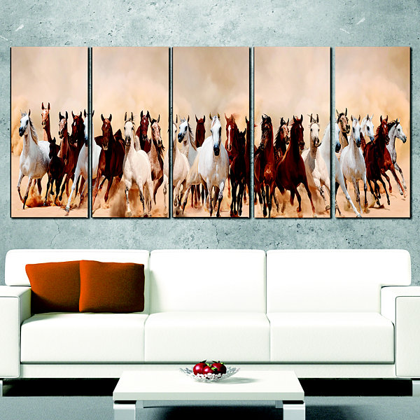 Designart Horses Herd In Sand Storm Landscape Photography Wrapped Canvas Art Print - 5 Panels
