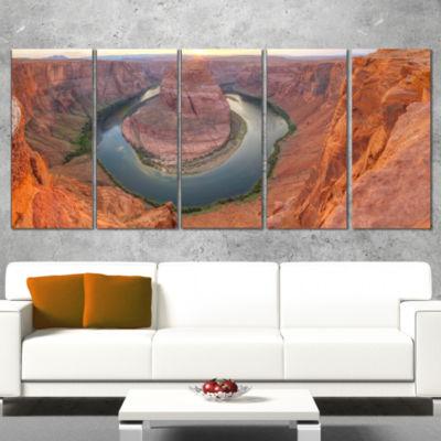 Designart Horseshoe Bend Arizona Panorama Landscape Canvas Art Print - 4 Panels