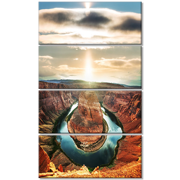 Designart Horseshoe Bend At Sunset Oversized Landscape Canvas Art - 4 Panels