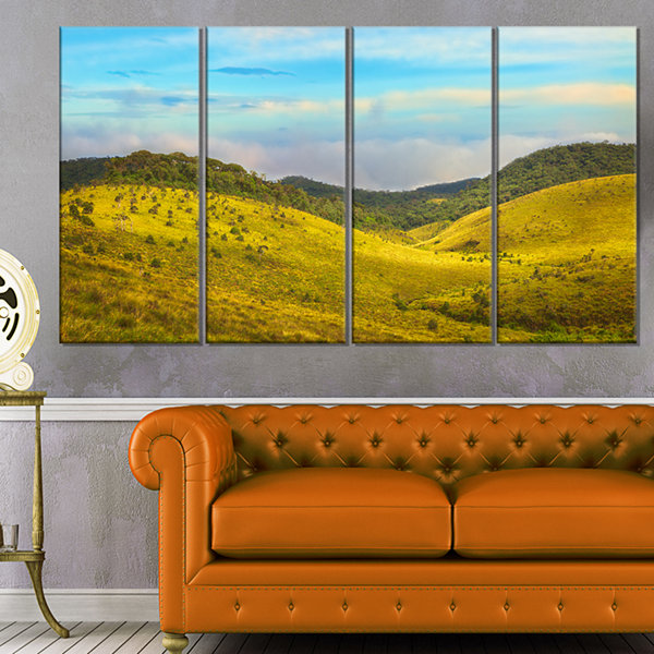 Designart Horton Plains Under Blue Sky Oversized Landscape Wall Art Print - 4 Panels