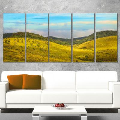 Designart Horton Plains Under Blue Sky Oversized Landscape Wall Art Print - 5 Panels