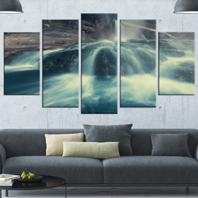 Designart Hot Spring Thermopiles Greece Seascape Wrapped Canvas Art Print - 5 Panels