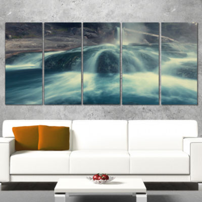 Designart Hot Spring Thermopiles Greece Seascape Canvas ArtPrint - 5 Panels