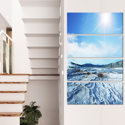 Designart Hot Spring With Bright Sky And Sun Oversized Landscape Canvas Art - 4 Panels