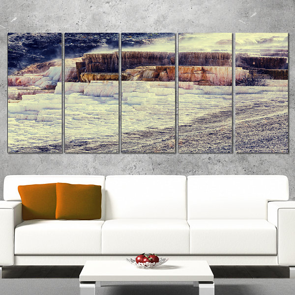 Hot Springs In Yellowstone Seascape Canvas Art Print - 4 Panels