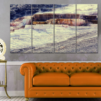 Designart Hot Springs In Yellowstone Seascape Canvas Art Print - 4 Panels