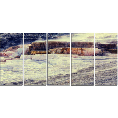 Designart Hot Springs In Yellowstone Seascape Canvas Art Print - 5 Panels