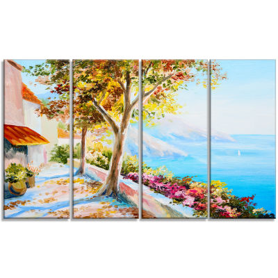 Designart House And Sea In The Fall Landscape ArtPrint Canvas - 4 Panels
