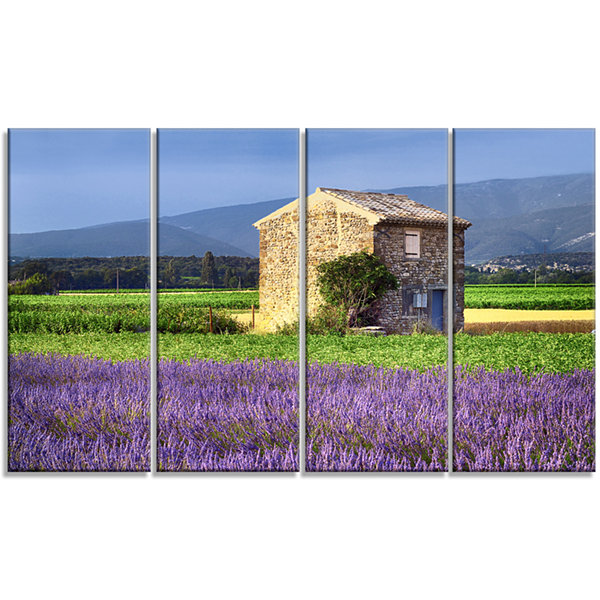 Designart House In The Lavender Field Landscape Canvas WallArt - 4 Panels