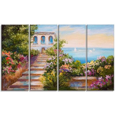 Designart House Near The Sea Landscape Art Print Canvas - 4Panels