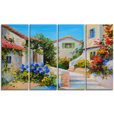 Designart Houses Near Sea Landscape Art Print Canvas - 4 Panels