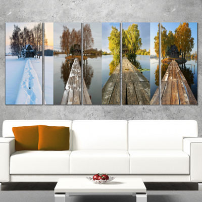 Designart Houses On Small Island Panorama Modern Seascape Canvas Artwork - 5 Panels