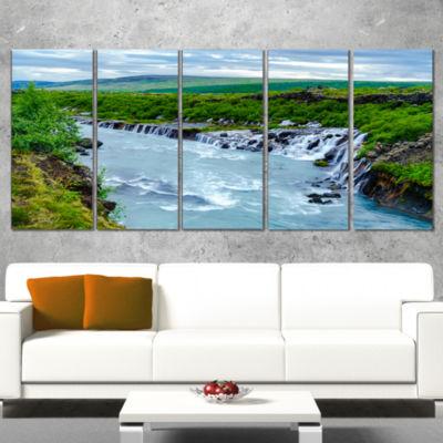 Designart Hraunfossar Waterfall Iceland Modern Landscape Wrapped Canvas Art - 5 Panels