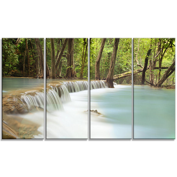 Designart Huai Mae Kamin Waterfall Green Photography CanvasArt Print - 4 Panels