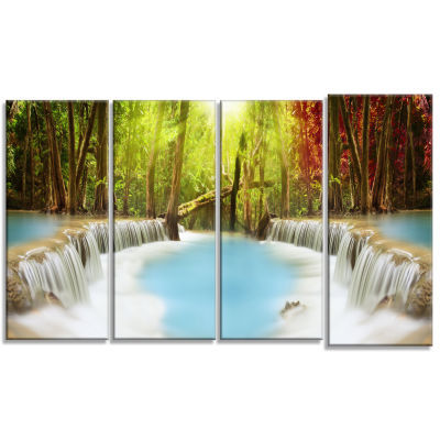 Huai Mae Kamin Waterfall Large Photography CanvasArt Print - 4 Panels