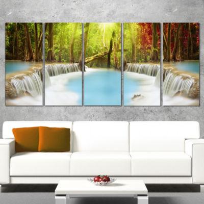 Designart Huai Mae Kamin Waterfall Photography Wrapped Canvas Art Print - 5 Panels