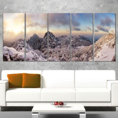 Designart Huangshan Hill Snow In Winter OversizedLandscapeWall Art Print - 4 Panels