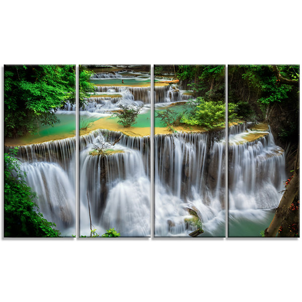 Designart Huay Mae Ka Min Waterfall Photography Canvas Art Print - 4 Panels