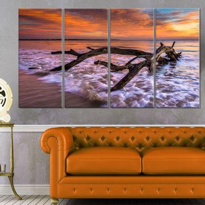 Designart Huge Branch Of Tree At Seashore Beach Photo CanvasPrint - 4 Panels