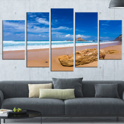Huge Brown Rock In Atlantic Seashore Seascape Wrapped Canvas Art Print - 5 Panels