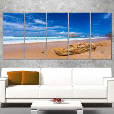 Huge Brown Rock In Atlantic Seashore Seascape Canvas Art Print - 5 Panels