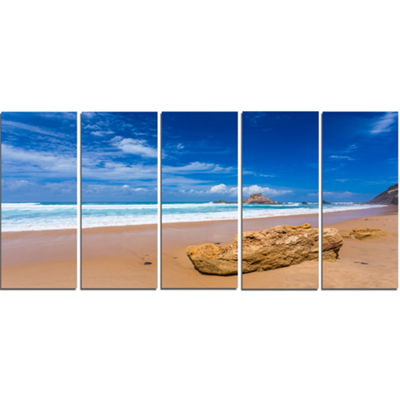 Designart Huge Brown Rock In Atlantic Seashore Seascape Canvas Art Print - 5 Panels
