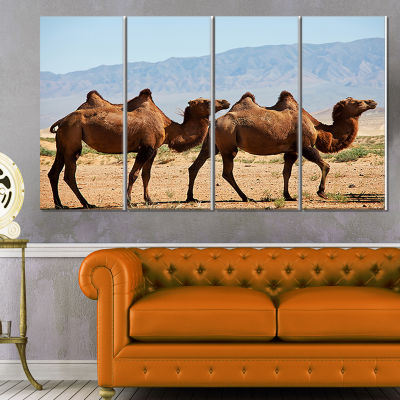 Designart Huge Camels On Tomb Ruins African CanvasArt Print- 4 Panels