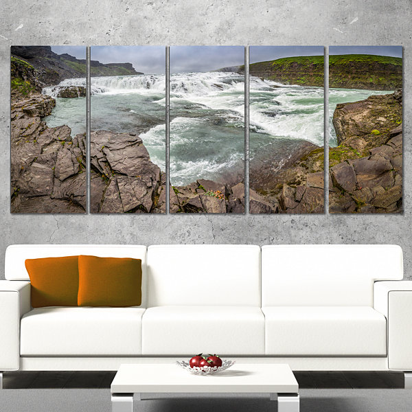Designart Huge Gullfoss Waterfall In Iceland Landscape PrintWrapped Wall Artwork - 5 Panels