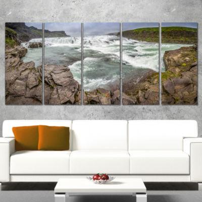 Designart Huge Gullfoss Waterfall In Iceland Landscape PrintWall Artwork - 5 Panels