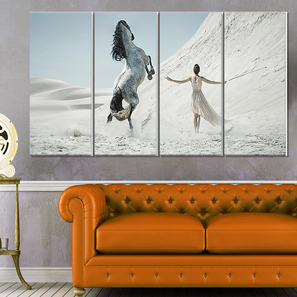 Designart Huge Horse And Lady On Desert Animal Canvas Wall Art - 4 Panels