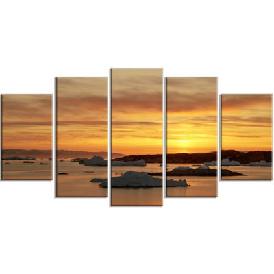 Designart Huge Icebergs On Arctic Ocean Seascape Wrapped Canvas Art Print - 5 Panels