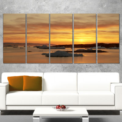 Huge Icebergs On Arctic Ocean Seascape Canvas ArtPrint - 5 Panels