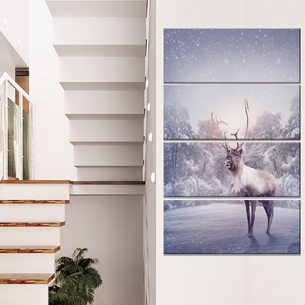 Designart Huge Reindeer Standing In Snow Animal Canvas Art Print - 4 Panels