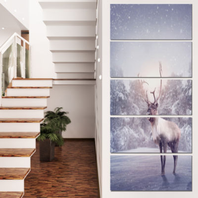 Huge Reindeer Standing In Snow Animal Canvas Art Print - 5 Panels