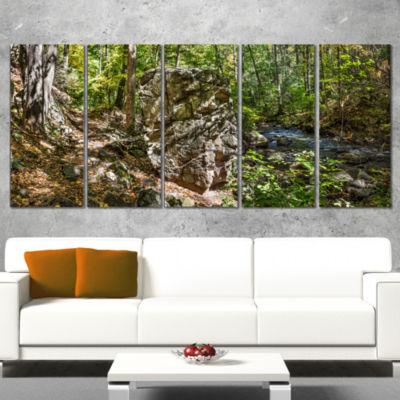 Designart Huge Rock In Black River Shore LandscapeWrapped Canvas Art Print - 5 Panels