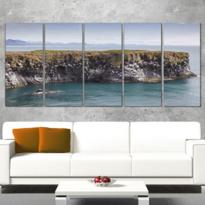 Huge Rock In Coastline Panorama Extra Large Seashore Wrapped Canvas Art - 5 Panels