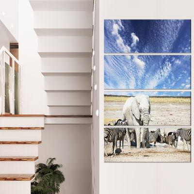 Designart Huge White Elephant And Zebras AbstractCanvas ArtPrint - 4 Panels