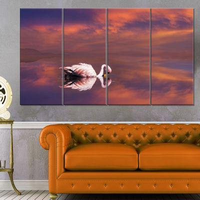 Designart Huge White Flamingo In Lake Animal Canvas Art Print - 4 Panels
