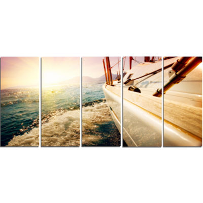 Huge Yacht Sailing Against Sunset Pier Canvas ArtPrint - 5 Panels