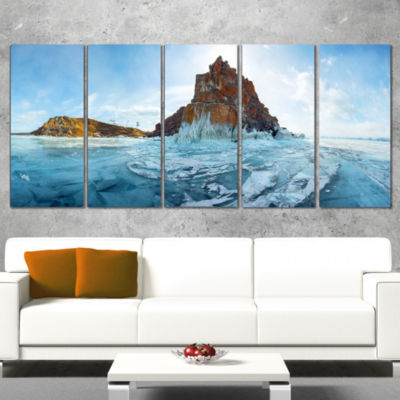 Designart Ice And Rocks Of Lake Baikal Large Seascape Art Canvas Print - 5 Panels