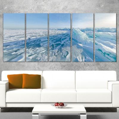 Designart Ice Hummocks In Lake Baikal Siberia Landscape Artwork Canvas - 4 Panels