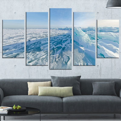 Designart Ice Hummocks In Lake Baikal Siberia Landscape Artwork Wrapped Canvas - 5 Panels
