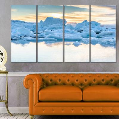 Designart Icebergs In Glacier Lagoon Seascape Canvas Art Print - 4 Panels