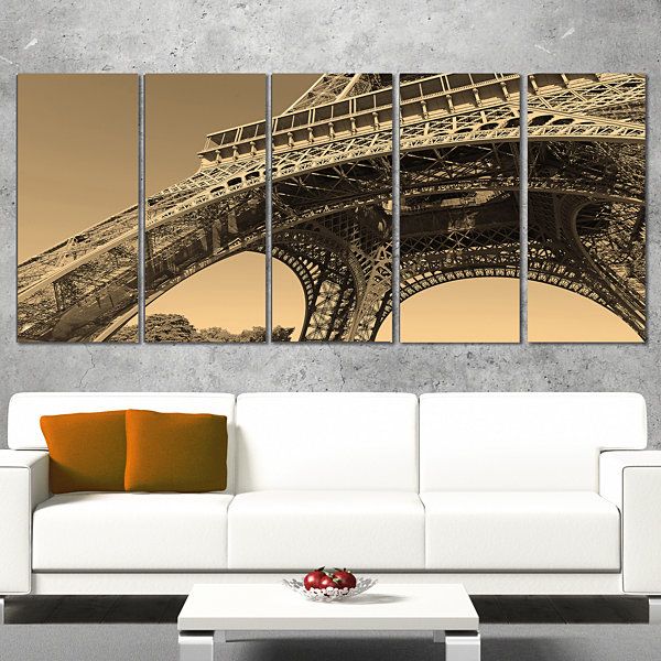 Designart Iconic Paris Paris Eiffel Towerside ViewFrom Ground Cityscape Wrapped Canvas Print - 5 Panels