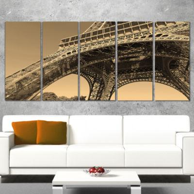 Designart Iconic Paris Paris Eiffel Towerside ViewFrom Ground Cityscape Canvas Print - 5 Panels