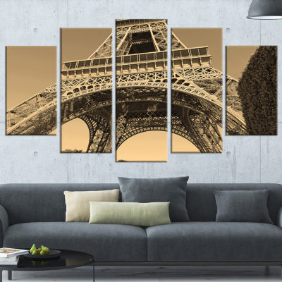 Iconic Paris Paris Eiffel Towerview From Ground Cityscape Wrapped Canvas Print - 5 Panels