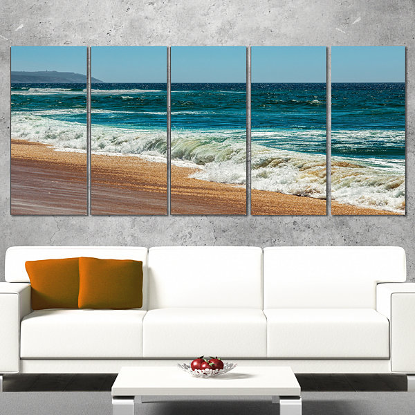 Designart Ideal Blue Atlantic Beach In SummertimeSeashore Wrapped Canvas Art Print - 5 Panels