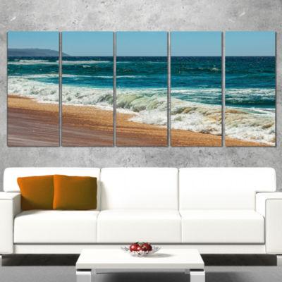 Designart Ideal Blue Atlantic Beach In SummertimeSeashore Canvas Art Print - 5 Panels