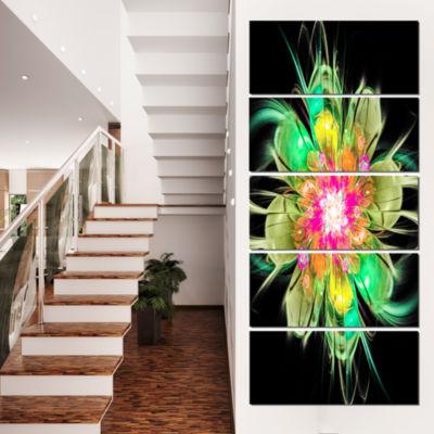 Designart Ideal Fractal Flower Digital Art In Green Floral Canvas Art Print - 4 Panels