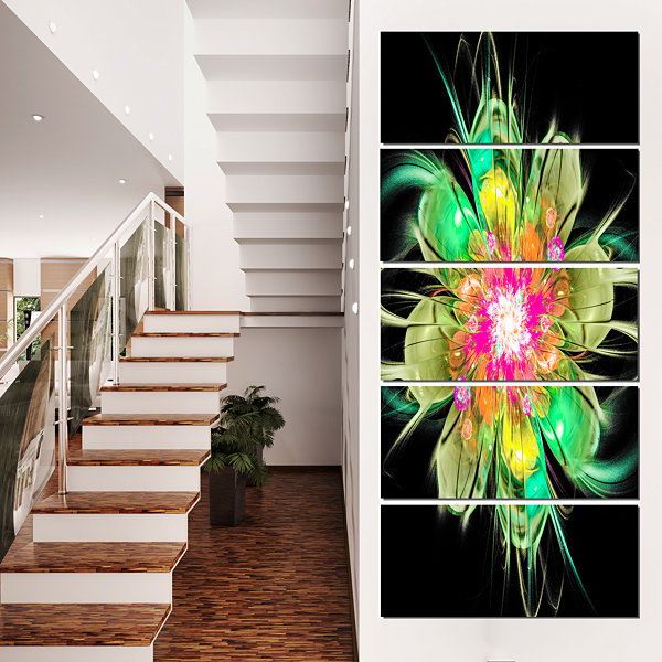 Designart Ideal Fractal Flower Digital Art In Green Floral Canvas Art Print - 5 Panels
